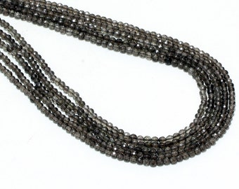 "GU-3948-1 - Natural Smoky Quartz Faceted Rounds - 4mm - Gemstone Beads - 16"" Full Strand"