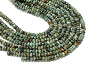 "GU-1425-4 - African Turquoise Rondelle Beads - 6x10mm - Gemstone Beads - Full 16"" Strand"