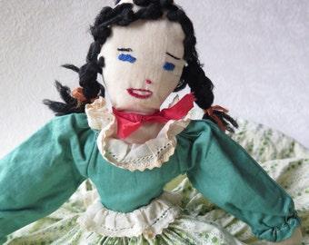 Toaster Tea Cozy Doll Handmade Braids Skirt Kitchen Appliance Cover Vintage Calico Flour Sack