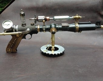 Sold- Custom  Orders Only  Steampunk Gun, Photo Prop Gun, Ray Gun