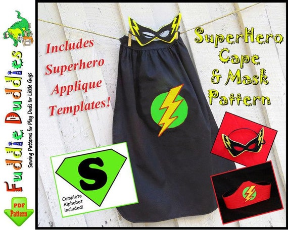 Johnny Superhero Cape Pattern, Boy's Sewing Pattern pdf. Superhero Costume Pattern, Toddler Cape Pattern, Mask & Headband. Iron-on Appliques
