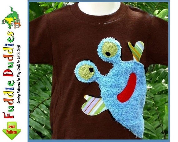 Boys...Monster Iron-on Applique Patterns. 4 Designs included. INSTANT DOWNLOAD. Super Cute on Toddlers Tees, Pants, Shorts, Onsies.