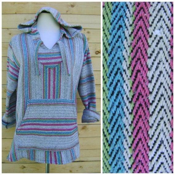 Vintage Mexican Baja Hoodie Pullover 90s Grunge Pink Green Blue ...