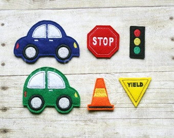 Felt Car & Road Sign Story Board Pieces