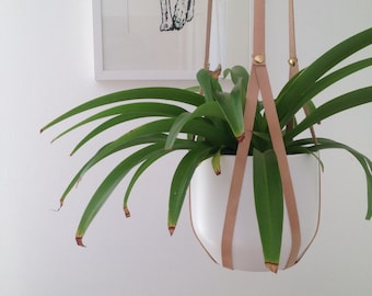 Plant hanger nude recycled leather with brass rivets - modern macrame - small medium large