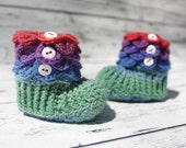 6-12 Month Baby Booties, Rainbow Slipper Boots, Crochet Crocodile Booties, Ready To Ship