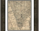 MAP of MANHATTAN New York City 4 in a Vintage Grunge Weathered Antique style