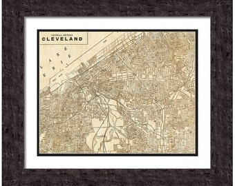 MAP of CLEVELAND Ohio in a Vintage Grunge Weathered Antique style