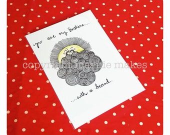 Beardy Sunshine - blank greetings card