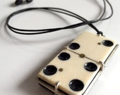 BONE and EBONY antique DOMINO necklace Lucky Six pendant . upcycled jewelry . unisex jewelry . statement necklace . found object jewelry