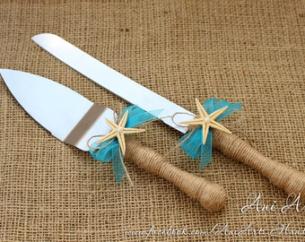 Beach Wedding Cake Server and Knife Nautical Wedding Cake Serving Set Rustic Wedding Cake Cutting Set Cake Server Set Cake Cutter