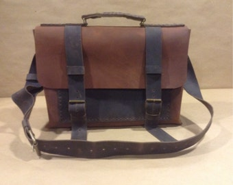 Rustic Leather Satchel Bag, Small Messenger Bag, Mens Messenger Bag