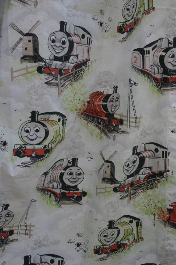 Vintage thomas the train fabric thomas the tank engine and for Train themed fabric