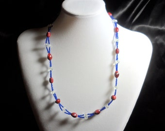 Red, Clear, and Blue Necklace
