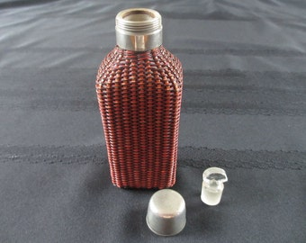 Antique Rattan French Perfume or Scent Bottle Fine Colored Weave with Dauber E. D. Depose Rare