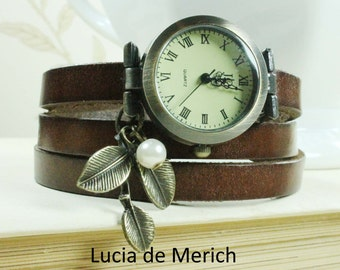 "Wrap Watch, Bracelet Watch, Wrist Watch, Vintage Watch Real Leather for women ""Snowdrop"" Bracelet"
