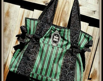 Beautiful Handmade Haunted Mansion Themed Maid Stripes Shoulder Bag Glows in the Dark