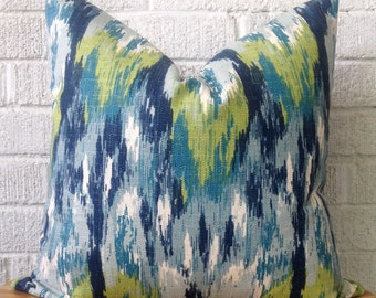 Navy Ikat Pillow Cover, Square Toss Cushion, Turquoise, navy, lime green