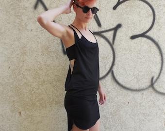 Festival Dress, Burning man Tunic,Tunic Dress, Open Dress, Black Tunic.