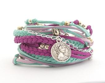 Bohemian Jewelry, Boho Wrap Bracelet, Mint Lilac Purple Wrap Bracelet, Mint Purple Boho Bracelet, Gypsy Bracelet, double wrap, boho chic