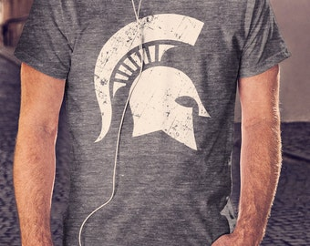 Classic Michigan State Grunge Spartan Helmet Head Vintage T-shirt - FREE SHIPPING