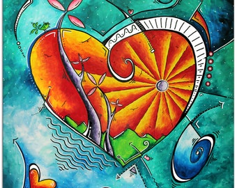 Heart Art 'Heart Land' Abstract Love Painting, Contemporary Hearts Print on Metal, Modern Artwork - Teal Wall Decor by Megan Duncanson
