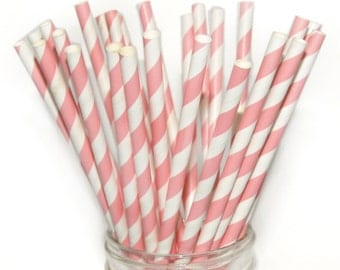 Light Pink Paper Straws, 25 Pack