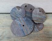 5 salvaged metal discs, brass disc, metal circles, vintage brass with holes, metal buttons, brass beads