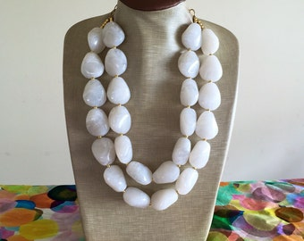 White Bead Necklace - Chunky Beaded Statement Necklace MultiStrand in White