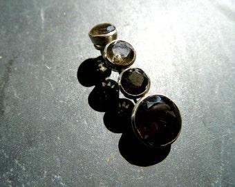 Pendant, silver, sterling silver, smoky quartz, 4 stones, grey