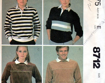 """Clearance 1980s Women's, Men's, Unisex Rugby Shirt or Tops Pattern - Size Medium , Bust/Chest 36""""-38"""" - McCall's 8712 uncut the gap"""