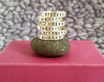 Personalized Stacking Name Ring in Sterling Silver