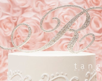 A-Z Silver Metal Rhinestone Cake Topper/ Letters A B C D E F G H J K L M N P R S T V W Z cake topper/ wedding decoration
