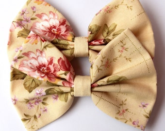 Annabelle Hair Bow - Cream with Floral Pattern Hair Bow with Clip
