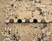 "Mother's Day Steampunk Bracelet Victorian TYPEWRITER Key ""MOTHER"" Vintage Black Buttons ooak"