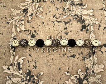 "Mother's Day Steampunk Bracelet Victorian TYPEWRITER Key ""MOTHER"" Vintage Black Buttons ooak"