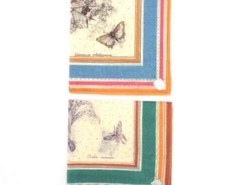 Vintage Stoffels Handkerchiefs Butterfly Botanical Handkerchiefs