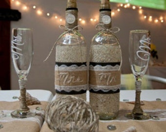Jute Wrapped Mr. and Mrs. Toasting Glasses - Set of 2 with Jute and Lace
