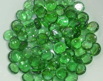 """Green Glass Gems Vase Filler Flat Back 14 ounce bag, approx 85-90 pieces  about 3/4"""" inch in size"""