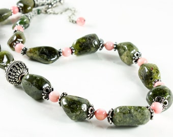 Grossular Garnet Necklace with Salmon Pink Bamboo Coral and Antique Silver finish, green gemstone statement necklace, summer ne