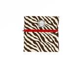 """Zebra Print Pouch, Handmade Travel Bag, Zippered Coin Purse, Makeup Bag, Brown, Cream, Red, Birdbags """"Grand Hummingbird"""""""