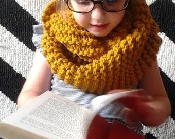 Hand Knit Chunky Infinity Scarf for Kids in Mustard