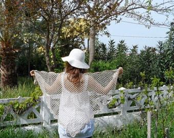 Cotton wedding triangle shawl, shrug for weddin, scarf, elegant shawl,, Lace wedding, summer's scarf..