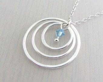 Custom Birthstone Sterling Silver Three Circle Necklace, 3rd Anniversary Gift, 30th Birthday Gift, Swarovski Crystal Birthstone Necklace
