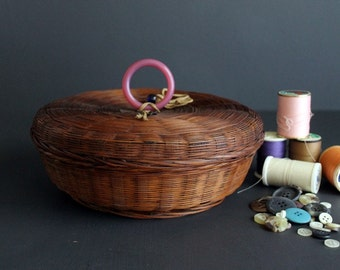 Vintage Basket Pine Needle Hand Woven Covered Sewing Container