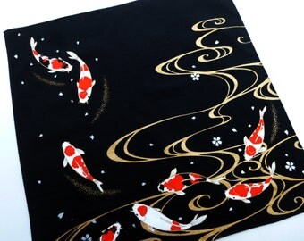 Furoshiki cloth japanese fabric, carp cotton koi wrapping fabric, kawaii fabric, japanese black carp furoshiki fabric, furoshiki eco bag