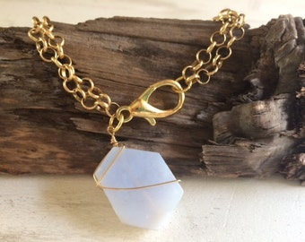 Geode, Gold, Wire Wrapped Bracelet