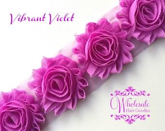 Shabby Flowers - VIBRANT VIOLET Shabby Rose Trim - Shabby Chic - Shabby Flower Trim - DIY Flowers