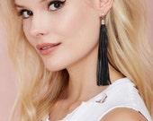 JAKIMAC Black Leather Tassel Stud Earrings / Stainless Steel Posts