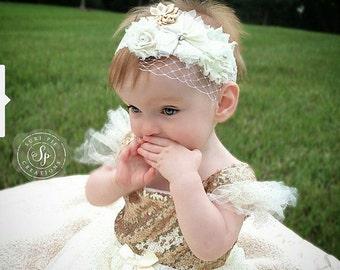 Ivory Flower Girl Headband...Christening Headband..Vintage Baby Headband..Rustic Headband..Flower Girl Gift...Rustic Gold Headband.Baptism